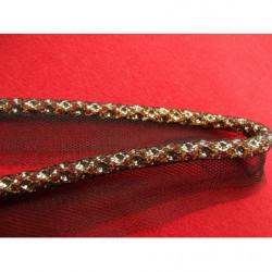 ruban passepoil cuivré, 0.8 cm, brodée sur maille noir, idéal pour des finitions parfaites pour vos travaux de couture,