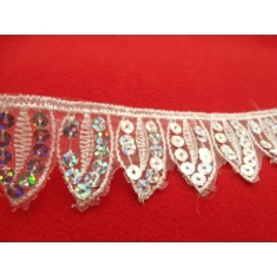 dentelle blanche,4 cm, à  paillette, idéal pour  customiser un vêtement, une robe,chemisier, sac, pochette,