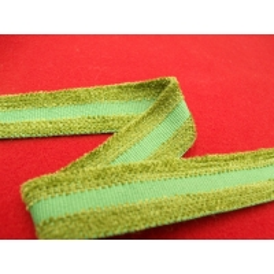 ruban avec deux bandes velours vert  2,5 cm, sublime pour toutes vos créations de couture, customisations, vêtements, sac..