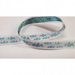 ruban irisé effet métal- 1cm- bleu mat