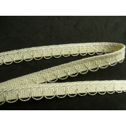 RUBAN AMEUBLEMENT-1,2 cm- JAUNE PAILLE GARNIT LUREX OR