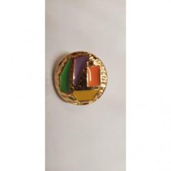 broderie avec lurex or, garni rose et vert, 4 cm, idéal pour toutes décorations sur vetements , lingerie, robe, chemisier