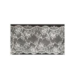 ruban fantaisie en voile léger noir garni blanc dentelé,1 cm,sublime  pour customiser , vêtements , sac, pochette