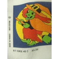 canevas motif HALLOWEEN SORCIERE 20X20 cm