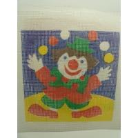 canevas motif CLOWN 20x20 cm