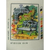 canevas motif ROMANCE BANC CAGE ET FLEURS20x25 cm