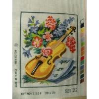 canevas motif ROMANCE GUITARE ET FLEURS  20x25 cm