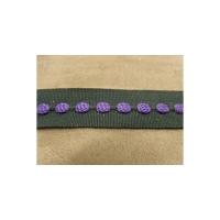 ruban gros grain violet sur fond noir ,2.5 cm