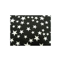 tissu coton imprimé noir étoile blanc,145 cm,100% coton