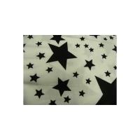 tissu coton imprimé blanc étoile noir,145 cm,100%coton