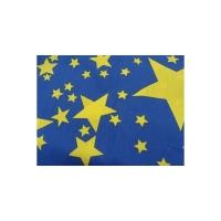 tissu coton imprimé bleu étoile jaune,145 cm,100% coton