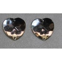 strass coeur argent, 16 mm,vendu par 10 pièces