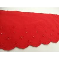 broderie anglaise coton rouge,11 cm/ hauteur de broderie 5 cm