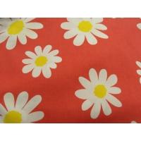 tissu coton imprimé fleur marguerite sur fond rouge ,150 cm,100%coton