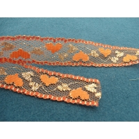 dentelle orange et or lurex motif coeur,2.3 cm