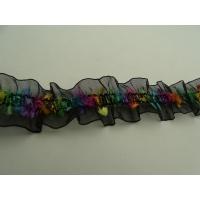ruban motif fleurs multicolore sur base organza froncé stretch,1 cm