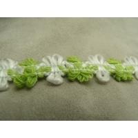ruban fantaisie motif fleur vert et blanc,2 cm
