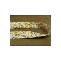BIAIS LIBERTY A FLEURS coton ou polyester fond blanc & fleurs, orange et marron,25 mm