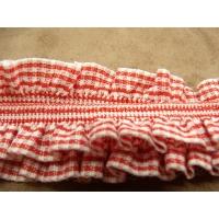 ruban  plissé froncé elastique et coton vichy rouge et blanc,4 cm