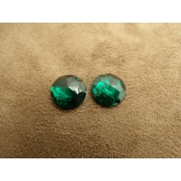 strass rond vert 13 mm, vendu par 10 pièces