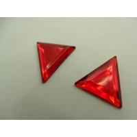 Strass triangle rouge, 24  mm, vendu par 10 pièces