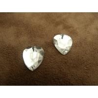 strass coeur argent  15mm x 12mm,, vendu par 10 pièces