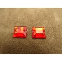strass carré rouge,12 mm,vendu par 10 pièces