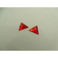 strass triangle rouge,12 mm,vendu par 10 pièces