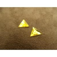 strass triangle jaune,12 mm,vendu par 10 pièces