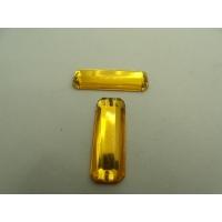 Strass rectangulaire jaune (25mm x 8mm),  vendu par 10 pièces