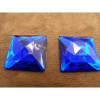strass carré bleu,25 mm,vendu à la pièce