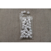 perles acryliques rond-8mm- blanc