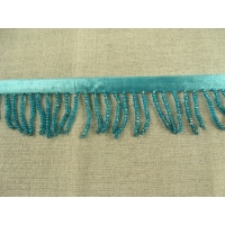 ruban frange perlé rocaille - bleu