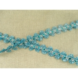 Ruban pailleté strass serpenté- 2cm- bleu turquoise