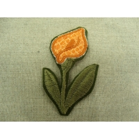 écusson thermocollant- motif : fleur orange avec tige verte
