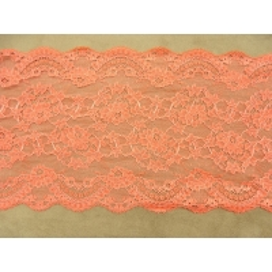 DENTELLE DE CALAIS rose saumoné, 18 cm, peut se confectionner pour customiser un vêtement, une robe,chemisier, sac,pochette
