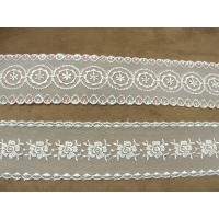 BRODERIE ANGLAISE- 5,5 cm- BRODEE SUR TULLE- BLANCHE- PHOTO DE PRESENTATION