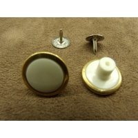 BOUTON JEAN 'S - 17 mm -  BLANC & OR