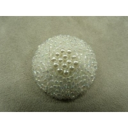 BOUTON/BIJOU à queue perlé blanc nacré
