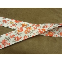 BIAIS LIBERTY-25 mm- fond blanc & fleurs ORANGE & MARRON