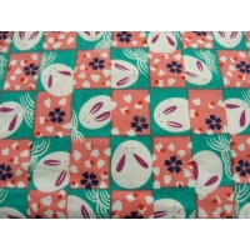 tissu coton imprimé  lapin - rose et vert