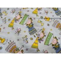 tissu coton imprimé happy birthday FILLETTE- PARME