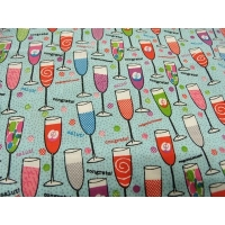 tissu coton imprime- VERRE FESTIF- multicolore