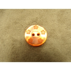 BOUTON motif petite fleur-18 mm -  orange foncé