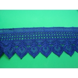 guipure coton,9 cm,bleu roi