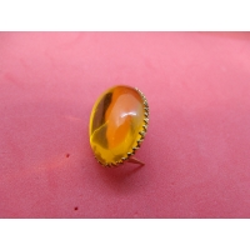 strass à griffe ovale  ORANGE - Métal doré