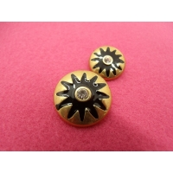 Bouton à queue - strass central et métal doré
