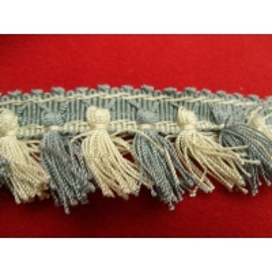 ruban frange polycoton bleu et blanc, 3 cm, convient pour customiser un vêtement, robe ,tee shirt ou un objet ,chapeau, sac