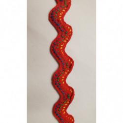 ruban avec pompon  viscose multicolore, 8 cm, idéal  pour customiser un vêtement ,robe, tee shirt, ou un objet ,chapeau, sac