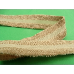 ruban avec deux bandes velours beige , 2,5 cm , idéal  pour toutes vos créations de couture, customisations, vêtements, sac..